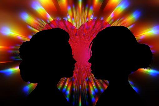 Couple, Silhouette, Heart, Love, Women, Pair