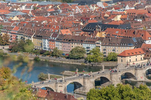 City, Germany, Bavaria, Würzburg, Houses, River
