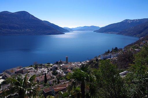Lake, Mountains, Hills, Sky, Scenery, Deep, Blue