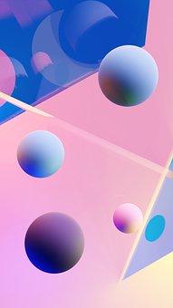 Random, Sphere, Wallpaper, Screensaver, Pink, Blue