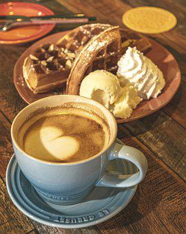 Coffee, Cafe, Waffle, Cappuccino, Cup, Caffeine