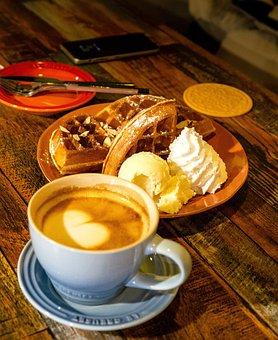 Coffee, Cafe, Waffle, Cappuccino, Cup, Caffeine