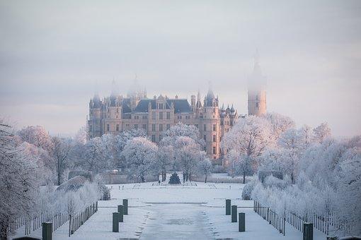 Castle, Schwerin, Mecklenburg, Historically, Winter