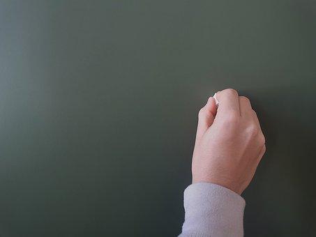 Board, Hand, Chalk, Chalkboard, Blackboard, School