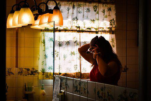 Woman, Mirror, Female, Girl, Reflection, Hairstyle