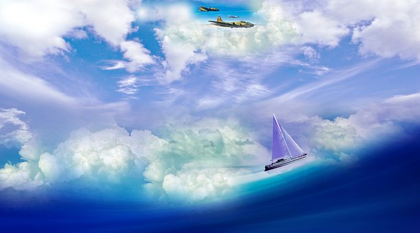 Sailing, Flight, Clouds, Ocean, Sea, Nature, Landscape