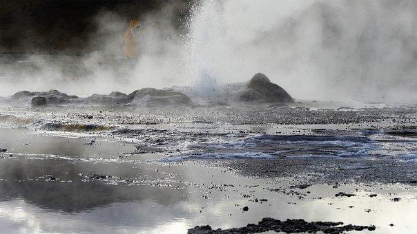 Chile, Geyser, Smoke, Fog, Volcano, Water Vapor
