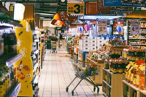 Supermarket, City, Food