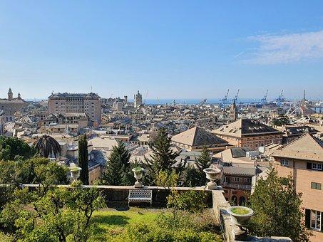 Genova, Genoa, Italy, Italia, Liguria, View, Panorama