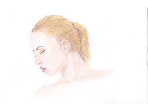 Woman, Portrait, Sketch, Girl, Face, Model, Female