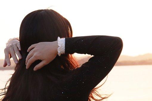People, Setting Sun, Girl, Long Hair, Sea