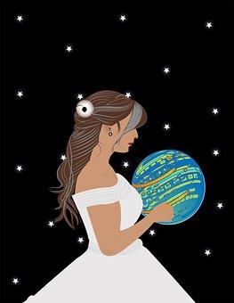 Girl, Bride, Ball, Hold, Holding, Dress, White Dress