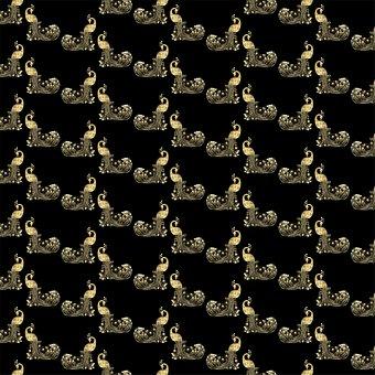 Digital Paper, Gold Foil And Black, Peacocks, Template