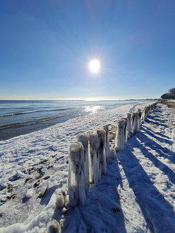 Baltic Sea, Ice, Groynes, Frost, Winter, Sun, Beach