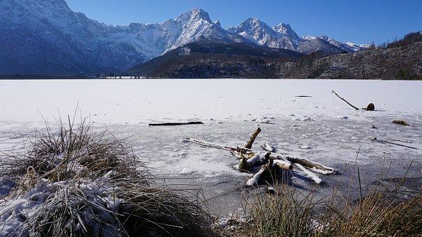 Mountains, Lake, Snow, Frozen Lake, Alps
