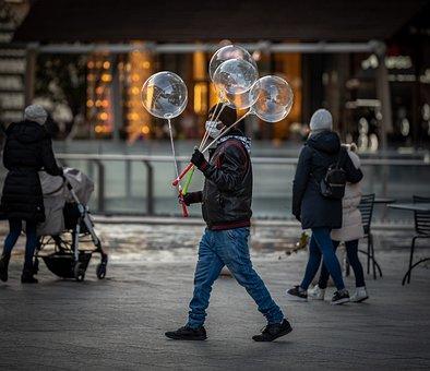 Man, People, Baloon, Gae Aulenti, Milan, Sunset, Couple