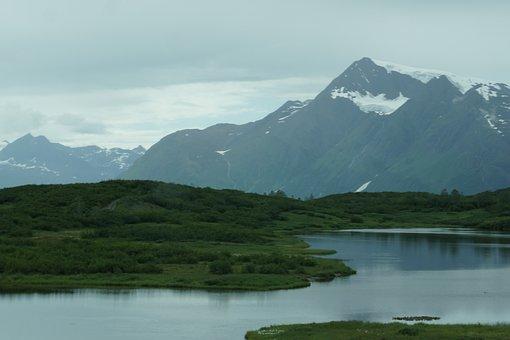 Alaska, Mountains, Water, Snow, Green, Nature