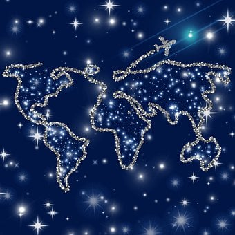 Map, Stars, Plane, Aircraft, Travel, Continents