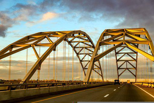 Bridge, Road, Highway, Structure, Traffic, Vehicle