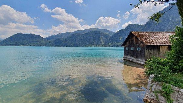 Austria, Attersee, Salzkammergut, Water, Lake, Sky