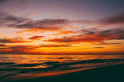 Sea, Dawn, Landscape, Clouds, Sky