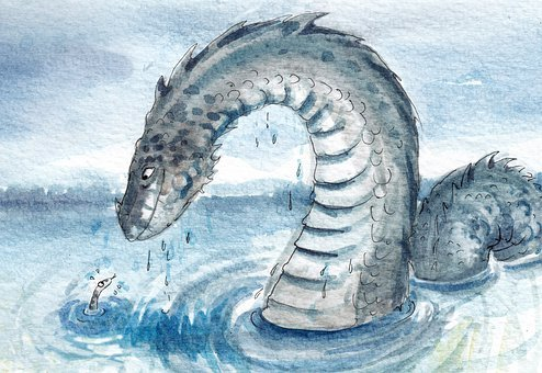 Nessi, Sea Serpent, Watercolor, Hole, Ness, Monster