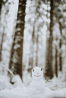 Snowman, Snow, Winter, December, Children, White, Cute