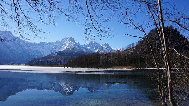 Mountains, Lake, Mirroring, Winter, Snow Mountains
