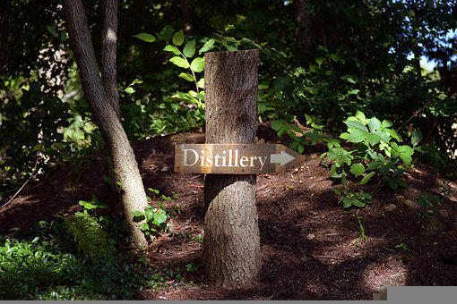 Distillery, Sign, Wood, Wooden, Arrow, Signpost