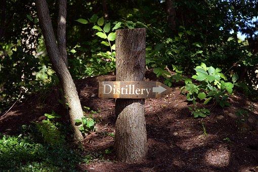 Distillery, Sign, Wood, Wooden, Arrow, Signpost