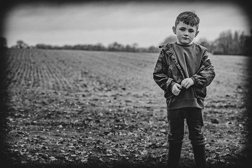 Boy, Farm, Black And White, Young, Child, Adorable