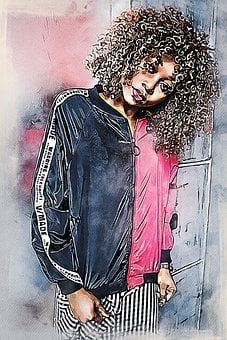 Girl, Woman, African Woman, Curly Hair, Haristyle