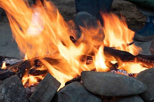 Fire, Flames, Fire Wood, Campfire, Bonfire, Fireplace