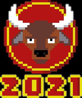 Ox, Pixel, New Year, Chinese, Art