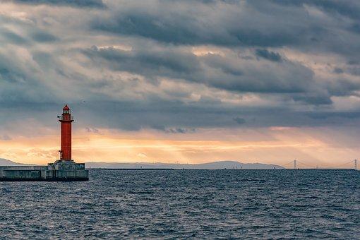 Red Lighthouse, Osaka Bay, Sea, Clouds, Sky, Cloudy