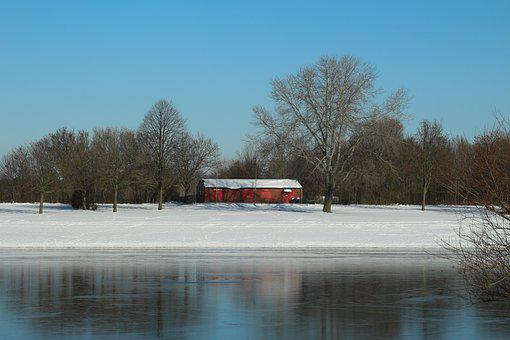 Winter, Wesel, Auesee, Dlrg, Beach, Snow, Cold, Wintry