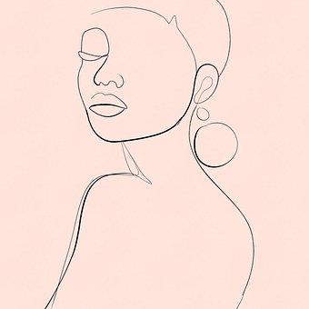 Elegant, Woman, Line, Art, Face, Model, Fashion, Girl