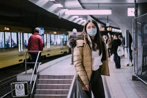 Woman, Face Mask, Train Station, Female, Girl, Person