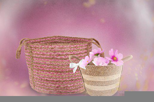 Basket, Roses, Flowers, Pink, Baskets, Romantic