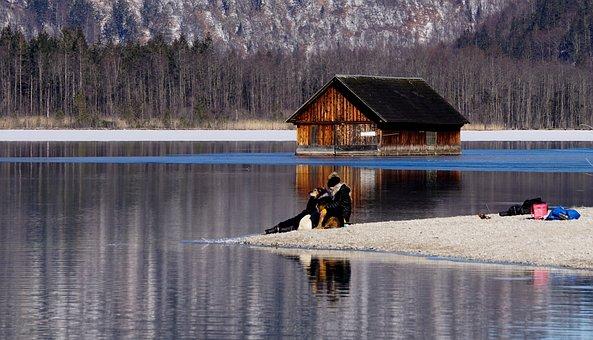 Lake, Trees, Forest, Water, Winter, Ice, Human, Sandbar