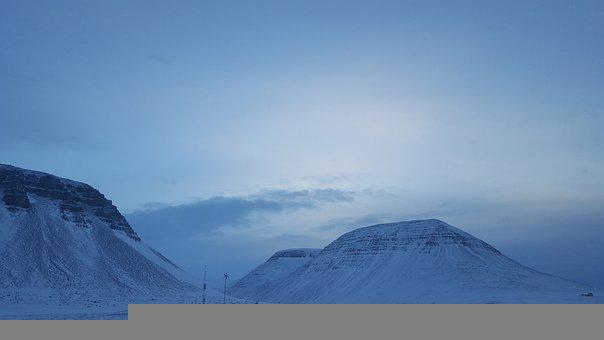 Mountains, Snow, Winter, Iceland, Sunset, Majestic