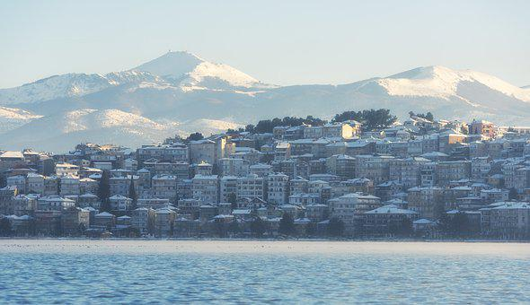 Ice, Lake, Greece, City, Winter, Nature, Frozen