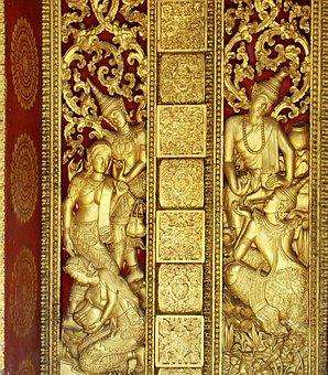 Portal, Doré, Bas-relief, Laos, Door, Temple