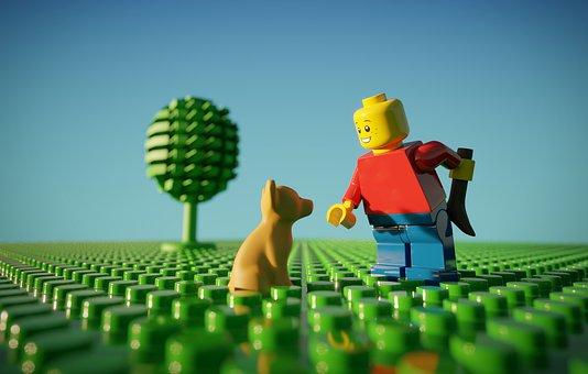 Lego, Boy, Dog, Chihuahua, Tree, Grass, Stud, Studs