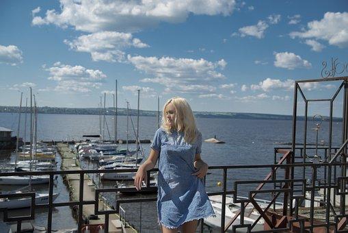 Girl, Pierce, Yachts, Boats, Boat, River, Sky, Marina