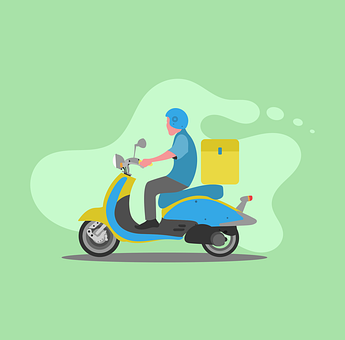 Delivery Man, Fast-food, Delivery, Motorcycle