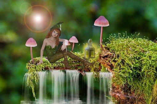 Elf, Fairy, Mushroom, Moss, Waterfall, Forest