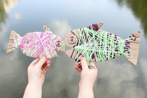 Odd Job, Fish, Made Of Cardboard, From Threads