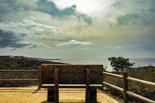 Bench, Park, Beach, Coast, Sea, Ocean, Horizon, Sky