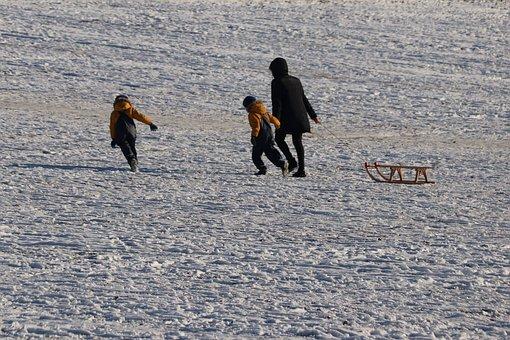 Snow, Sleigh Ride, Children, Drag